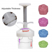 Cookie Stamps Moon Cake Mould with 50g 6 Stamps, Thickness Adjustable Christmas Cookie Press DIY Decoration Hand Press Cutter Cake Mould