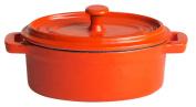 Oval cast-iron pot 12.5 x 9 cm orange/weiß emailliert