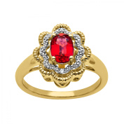 1 ct Ruby Ring with Diamonds in 14kt Gold-Plated Sterling Silver