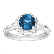 Luminesse September Ring with Royal Blue Crystals in Sterling Silver