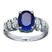 3 1/2 ct Created Sapphire Ring with Diamonds in Sterling Silver