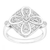 1/10 ct Diamond Filigree Ring in Sterling Silver