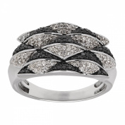 1/2 ct Black & White Diamond Geometric Ring in Sterling Silver
