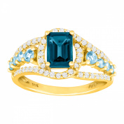 1 7/8 ct Natural London & Swiss Blue Topaz & 1/3 ct Diamond Ring in 14kt Gold