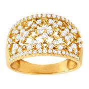1 1/4 ct Diamond Flower Garden Band Ring in 10kt Gold
