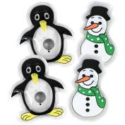 "'COM-FOUR Pocket ""Snowman & Penguin Hand Warmers Pack Assorted Christmas Motifs"