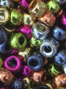 50 mixed colours FOIL METALLIC 6 x 8 mm multi Pony Beads Craft Plastic beads for loom bands DIY hair jewellery