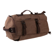 MagiDeal Men Canvas Backpack Computer Laptop Daypack Rucksack Gym Sports Hiking Travel Duffel Bags - Brown