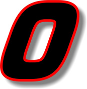 Vinyl sticker/decal x 2 Black (Red outline), square font, race number 0 (Height