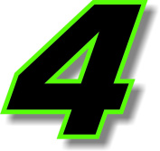 Vinyl sticker/decal x 2 Black (Green outline), square font, race number 4 (Height