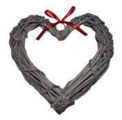 Grey Wash Willow Wide Heart Wreath With Red Spotty Ribbon 30cm Diameter