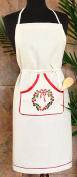 Xia Home Fashions Country Wreath Embroidered Hemstitch Holiday Adjustable Kitchen Apron