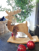 Lovely handcrafted large rustic nordic style wooden rocking reindeer Christmas ornament decoration