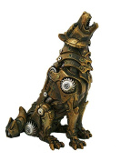 Steampunk Howling Alpha Wolf In Rustic Steel and Gears Collectible Fantasy Figurine …