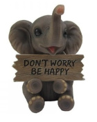 """""""Trunk Of Luck"""" Mini Elephant Figurine With Sign - Don't Worry Be Happy"""