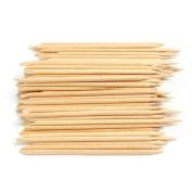 Vikenner 100 Pcs Nail Art Orange Wood Sticks Cuticle Pusher Remover Pedicure Manicure Care Tool