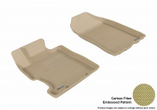 3D MAXpider 2006-2011 Honda Civic Coupe/Sedan Front Row All Weather Floor Liners in Tan with Carbon Fibre Look
