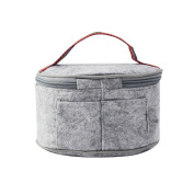 Felt Cloth Insulated Lunch Bag Adjustable Strap Outdoor Picnic Handbags Students Adults Round Foil Tote Storage Lunch Bag One Layer
