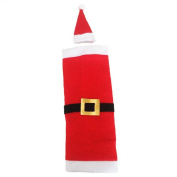 RainBabe Christmas Santa Wine Bottle Cover With Hat Wine Bags for Dinner Table Decoration 1Pc