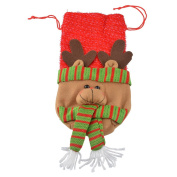RainBabe Christmas Elk Wine Bottle Cover With Drawstring Wine Bags for Table Decor 1Pc