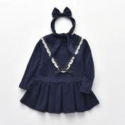 Buimin Baby Girl Long-Sleeved Stitching Bowknot Dress Lace Spring Princess Dress