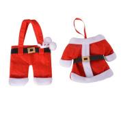 RainBabe Christmas Santa Dinnerware Holders Knifes Forks Pocket Bag for Home Decor 2Pcs