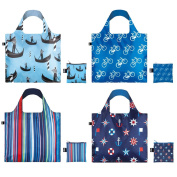 LOQI Nautical Travel Collection Pouch, Set of 4 Reusable Bags