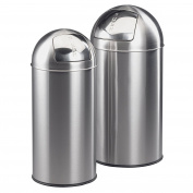 2 x Stainless Steel Push Rubbish Bin with Galvanised Inner Bin 28 and 38 Litres