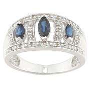 Sofia 10k White Gold Sapphire and 1/10ct TDW Diamond Ring