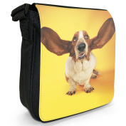 Basset Hound Ears Open Small Black Canvas Shoulder Bag / Handbag