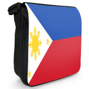 Philippines Flag Small Black Canvas Shoulder Bag / Handbag