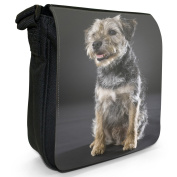 Border Terrier Dog Sitting Small Black Canvas Shoulder Bag / Handbag
