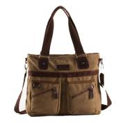 MongShop Men's Messenger Bag Vintage Sack Canvas Leather Satchel bag Military Shoulder Laptop Bags Bookbag Working Bag for Men and Women-khaki