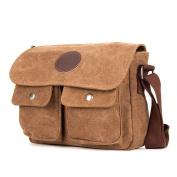 MongShop Men's Messenger Bag Vintage Canvas Leather Satchel bag Military Shoulder Laptop Bags Bookbag Working Bags for Men-Brown