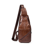 Gendi Sling Backpack for Men Top Genuine Leather Chest Bag Unbalanced Bags for Camping Travelling