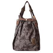 YANG Designer Women's Canvas Leather Zipper Embroidered Functionbag Tote Handbag Shoulder Bag Crossbody Bag, 42*16*52CM, Grey