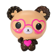 Squishy Toy, MML Love Cute Glasses Bear Scented Jumbo Charm Super Slow Rising Squeeze Toy