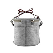 Felt Cloth Insulated Lunch Bag Adjustable Strap Outdoor Picnic Handbags Students Adults Round Foil Tote Storage Lunch Bag Two Layers