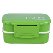 Demiawaking Lunch Box, Double Stackable Bento Box Containers with Cutlery Leak Proof BPA-Free Microwave Freezer & Dishwasher Safe