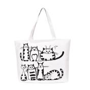 Tianfuheng Fashion Carton Cat Pattern Zipper Heavy Cotton Canvas Shopping Blank Tote Bag Art Craft