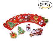 ULTNICE Christmas Cupcake Liner Cupcake Wraps Snowman Paper Cupcake Holders with Toppers 12pcs