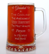 (FBA) Engraved AWESOMEST GRANDAD Pint Glass TANKARD - Gift Idea For Birthday/Father's Day/Christmas