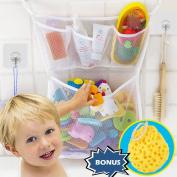 Wemk Bath Toy Bag Baby Bath Toy Organiser Bathroom Storage Net With 4 Self Adhesive Robust Hooks and Shower Sponge for Baby Bath
