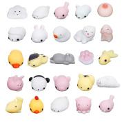 Cusfull 25 Pcs Mini Squeeze Stress Animal Toy Mochi Squishy Stress Relief Toys - Mini Seal Bear Cat Tiger Rabbit Pig Squishies