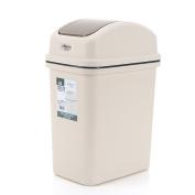 LoKauf Waste Paper Bin Waste Paper Basket Plastic Swivelling Cover Trash Can Flip Top Garbage Bin 6L