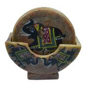 Royal Handicrafts Handcrafted Soapstone Coaster Set With Elephant Painting