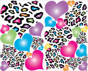 Multicoloured Leopard Print Heart Wall Decals / 29 Heart Wall Decor Stickers