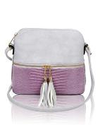 Foxlady Women's Mini Tassel Zip Trendy Snakeskin Faux Leather Sling Crossbody Handbag