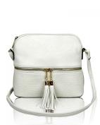 LeahWard Women's Cross Body Messenger Bag With Tassel Fold Over Tassel Handbag