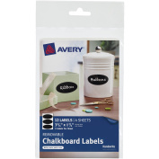 Avery(R) Removable Chalkboard Labels 73303, 2.5cm - 1.9cm x 7.6cm - 1.9cm , Pack of 12